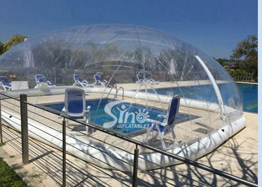 Outdoor complete clear inflatable pool cover used for air tent for hotels or family gardens